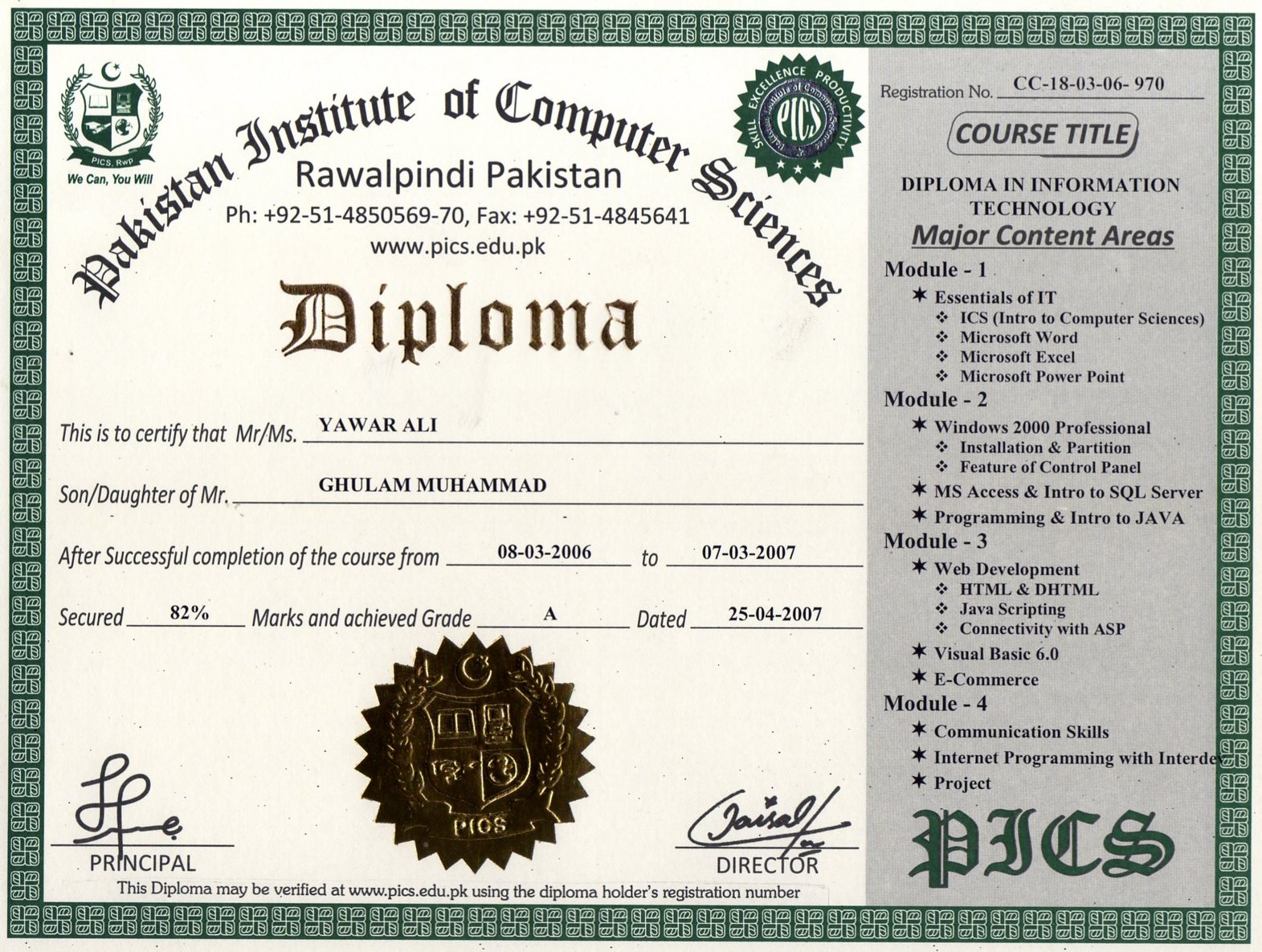Sample diploma certificate click here for list of certificates diplomas our certified students yelopaper Choice Image