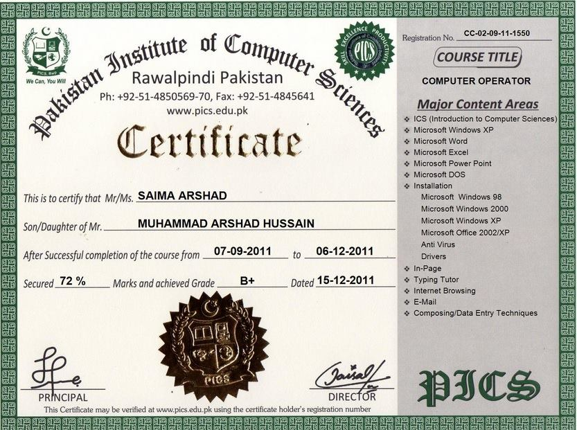 Pakistan institute of computer sciences free online certification list of certificates diplomas our certified students yelopaper
