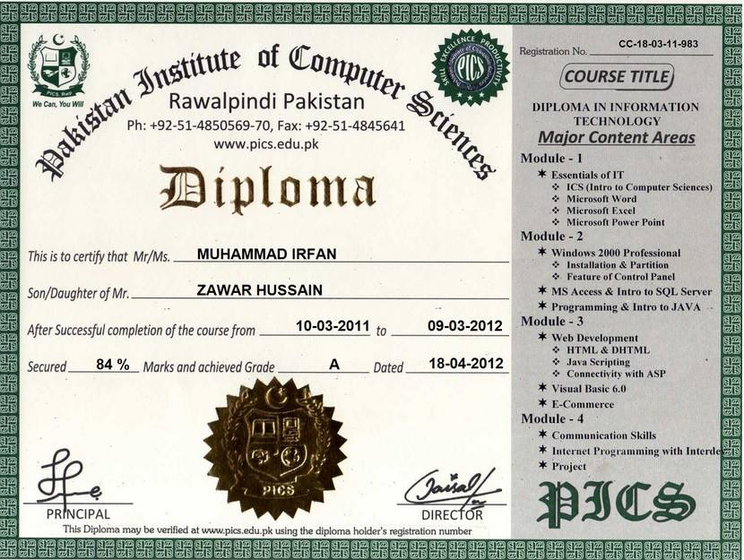Pakistan institute of computer sciences free online certification list of certificates diplomas our certified students yelopaper Choice Image