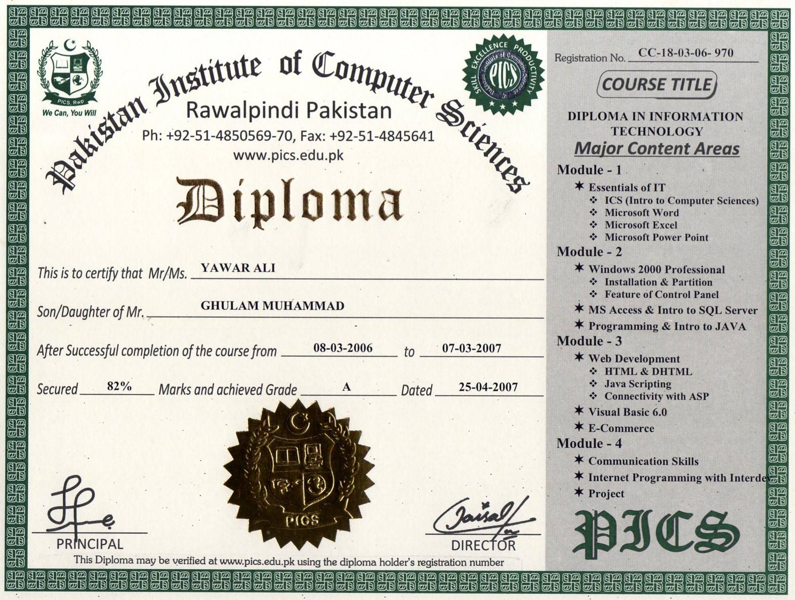 institute of computer sciences online certification  regular competency based diploma