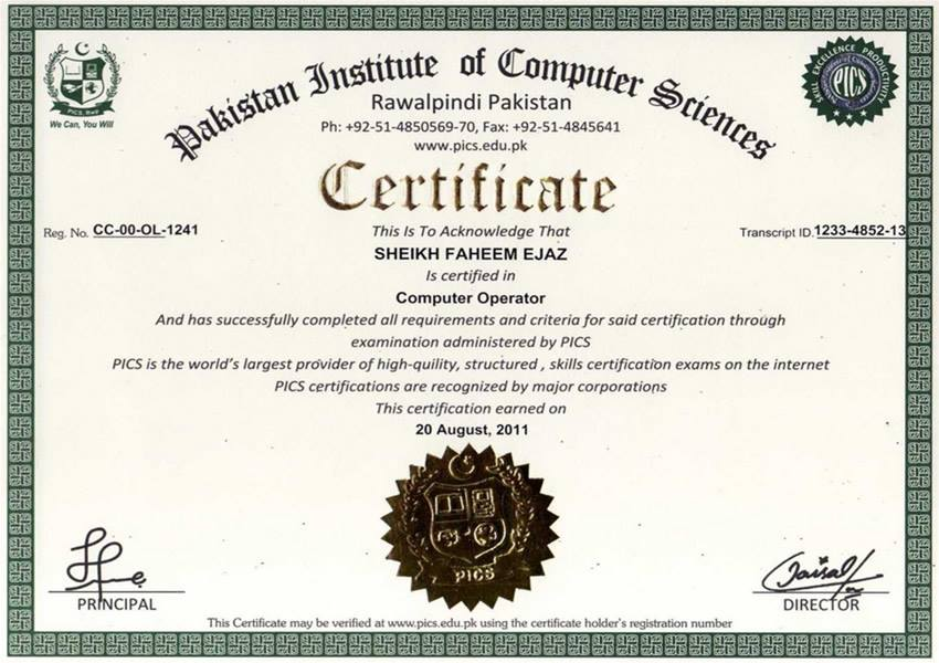 Pakistan Institute of Computer Sciences Free Online Certification – Computer Certificate Format